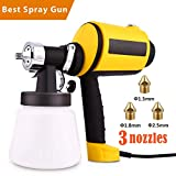Voluker Advanced Electric Spray Gun Home Paint Sprayer HVLP Sprayer with Three Spray Patterns Three Copper Nozzle Sizes 900ml Detachable Container Volume Regulator 6.5ft Power Line