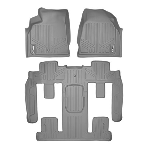SMARTLINER Floor Mats 3 Row Liner Set Grey for Traverse/Enclave/Acadia/Outlook with 2nd Row Bucket Seats