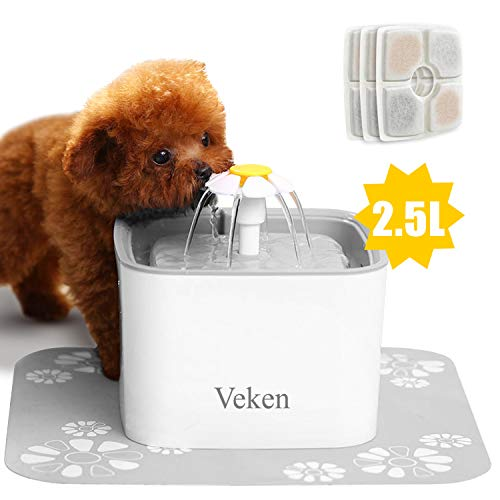 Veken Pet Fountain, 84oz/2.5L Automatic Cat Water Fountain Dog Water Dispenser with 3 Replacement Filters & 1 Silicone Mat for Cats, Dogs, Multiple Pets 1