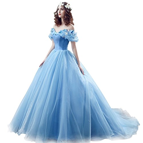Women's Cinderella Quinceanera Prom Dress Tulle Ball Gown Lace Up