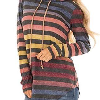 6bc9875f4ea94 Dearlove Womens Multicolor Striped Long Sleeve Lightweight Hoodie  Sweatshirts
