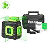 Huepar Cross Line Laser Level, Green 360° Horizontal and Two Vertical Lines, Self-Leveling Alignment Multi Line Laser Tool, Li-ion Battery with Type-C Charging Port & Hard Carry Case Included - B21CG