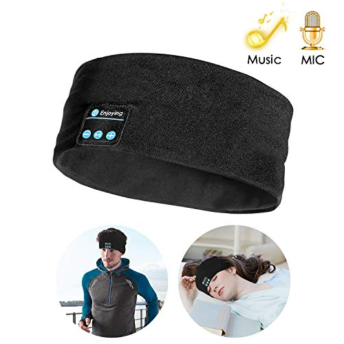 Bluetooth Headband Sleep Headphones, TOPOINT Wireless Music Sport Headbands Sleeping Headsets, Long Time Play Workout, Running, Yoga, Black
