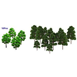 Xigeapg Lot 20 x Tree Model Landscape Decor Train N HO Electronic Jouef Dark Green & 10 Pcs Model Tree Train Set Plastic Trunks Scenery Landscape 419 2B8LSEevL