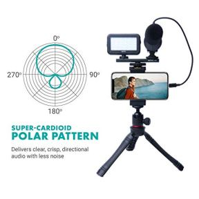 Movo-iVlogger-iPhoneAndroid-Compatible-Vlogging-Kit-Phone-Video-Kit-Accessories-Phone-Tripod-Phone-Mount-LED-Light-and-Cellphone-Shotgun-Microphone-for-Phone-Video-Recording-for-YouTube-Vlog