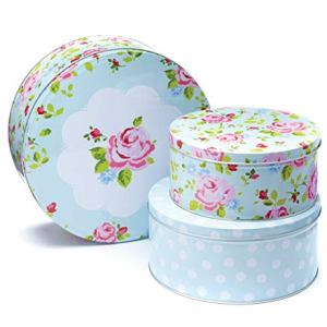 Cooksmart Cake Tins, Stackable, Vintage Floral, Set of 3 419 2BW w 2BGFL
