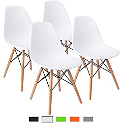 Furmax Pre Assembled Modern Style Dining Chair Mid Century Modern DSW Chair, Shell Lounge Plastic Chair for Kitchen, Dining, Bedroom, Living Room Side Chairs (White)
