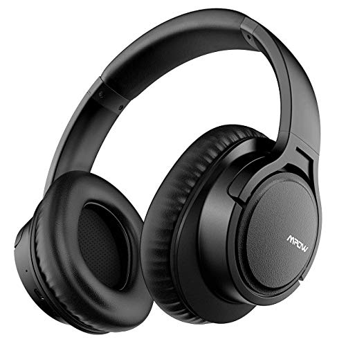 Mpow H7 Bluetooth Headphones Over Ear, 18 Hrs Comfortable Wireless Headphones w/Bag, Rechargeable HiFi Stereo Headset, CVC6.0 Headphones with Microphone for Cellphone Tablet(Black)