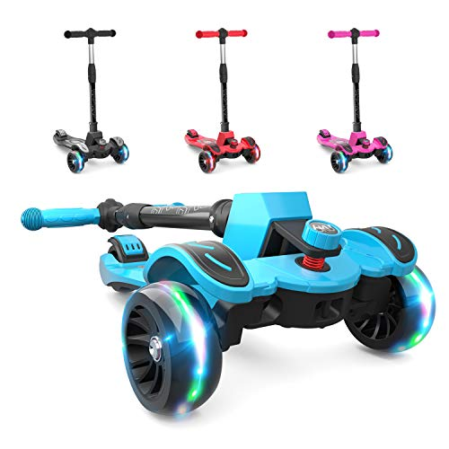 6KU Kids Kick Scooter with Adjustable Height, Lean to Steer, Flashing Wheels for Children 3-8 Years Old Blue