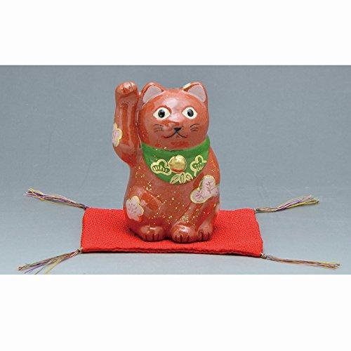 Kiyomizu-kyo yaki ware. Japanese ceramic ornament. Beckoning cat red. Fortune manekineko. kymz-ERS141