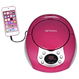 Riptunes Portable CD Player with AM FM Radio Potable radios Boom Box with Aux Line-in, Pink