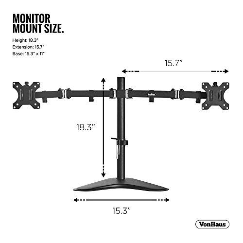 "419FvljWU2L - VonHaus Dual Monitor Stand for 13-32"" Screens - Double Arm Desk Mount Bracket - Ergonomic ±180° Tilt, 360° Rotation & Twin 360° Swivel Arms - VESA Dimensions: 75x75-100x100"
