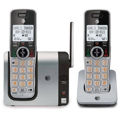 AT&T CL81214 DECT 6.0 Expandable Cordless Phone with Caller ID and Big Buttons, Silver/Black with Two handsets