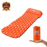 Mozing Camping Sleeping Pad Self Inflating with Attached Pillow, Ultralight Sleeping Mats Camping Pad Inflatable Lightweight Air Pads for Hiking Backpacking Traveling and Outdoor (Orange)