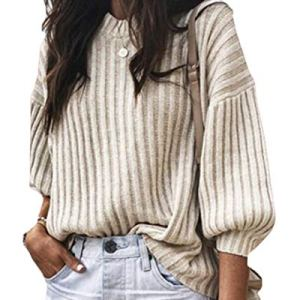 Yayu Womens Long Sleeves Solid Knit Crew Neck Pullover Loose Sweaters