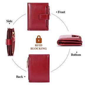 SENDEFN-Portefeuille-Femme-Cuir-Veritable-Slim-Porte-Monnaie-Monnaie-Femmes-Fermeture-Eclaire-Portefeuille-et-Multi-Cartes-Anti-RFID-Blocage-Court-Portefeuilles
