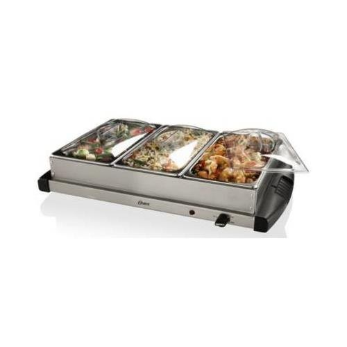 Oster Inspire CKSTBSTW00 Warming Tray with Triple Buffet Server - Stainless Steel