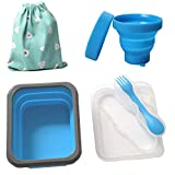 Yaayan Silicone Collapsible Bowl Cup Set with Spork for Outdoor Camping Hiking Travel - Set of 3-Blue set