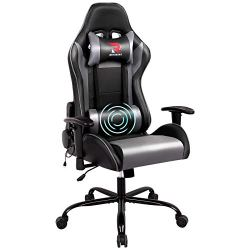 RIMIKING Massage Gaming Chair- Racing Computer Chair High Back Office Desk Chair, 360°Swivel Task Chair, Adjustable…