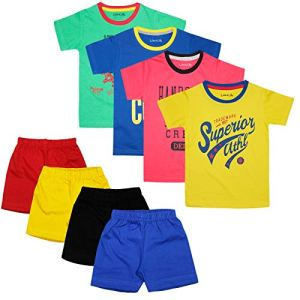 Luke & Lilly Boys Cotton Half Sleeve Tshirt and Shorts – Set of 4(Tshirt and Shorts)