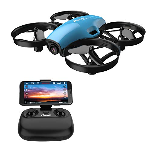 Potensic A30W FPV Drone, Mini RC Nano Quadcopter with Camera, Auto Hovering, Route Setting, Gravity Induction Mode and 500mAh Detachable Battery, Easy To Fly - Blue