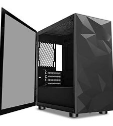 darkFlash Micro ATX Mini ITX Tower MicroATX Computer Case with Wide Open Door Opening Tempered Glass Swing Type Side Panel (DLM22 Black)