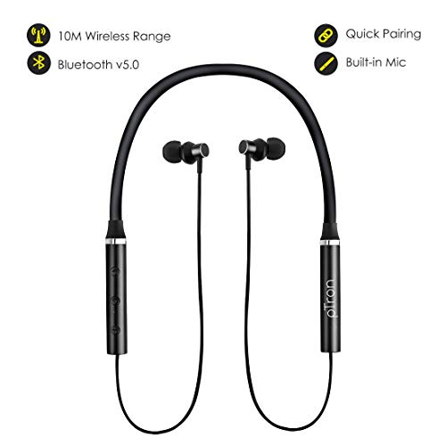 419Vgr%2B%2BMSL pTron Tangentbeat Bluetooth 5.Zero Wi-fi Headphones with Deep Bass, Ergonomic Design, IPX4 Sweat/Waterproof Neckband, Magnetic Earbuds, Voice Assistant, Passive Noise Cancelation & Mic - (Black)