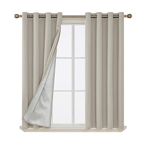 Deconovo Grommet Blackout Curtains Thermal Insulated Light Blocking Drapes with Silver Coated Back for Dining Room 52W x 63L inch Light Beige 2 Panels