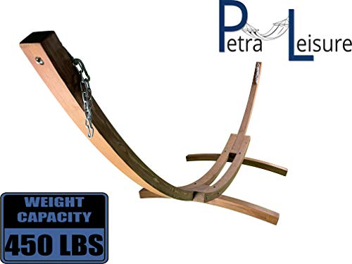 Petra Leisure 14 Ft. Wooden Arc Hammock Stand. 450 LB Capacity. Teak Stain Finish.
