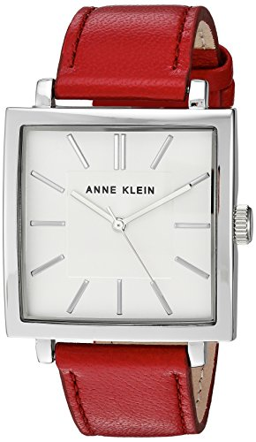 419bFs4Dz8L Domed mineral crystal lens; silver-tone dial with matching hands and markers Red leather strap with buckle closure Japanese-quartz Movement