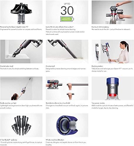 Premium-Dyson-V7-Allergy-HEPA-Cordless-Stick-Vacuum-Cleaner-Lightweight-Powerful-Bagless-Ergonomic-Telescopic-Handle-Rechargeable-Battery-Height-Adjustable-White-Hubxcel-One-Microfiber-Cloth