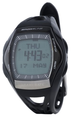Sportline Solo 965 Heart Rate Monitor Watch + Pedometer With Tap Display To Track Steps, Distance And Speed-Black