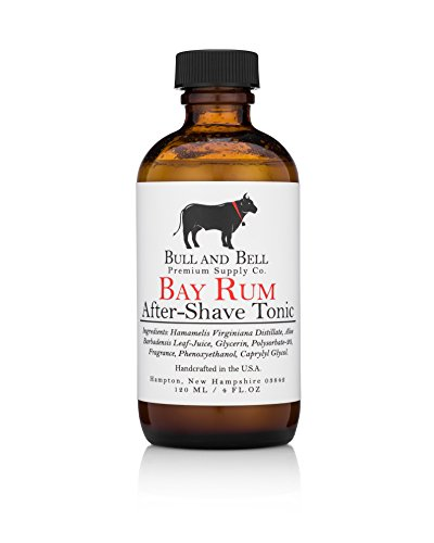 Bull and Bell Aftershave Tonic - Handmade in USA Using All Natural Ingredients Including Witch Hazel - 4oz - Best Aftershave for Sensitive Skin (Bay Rum)