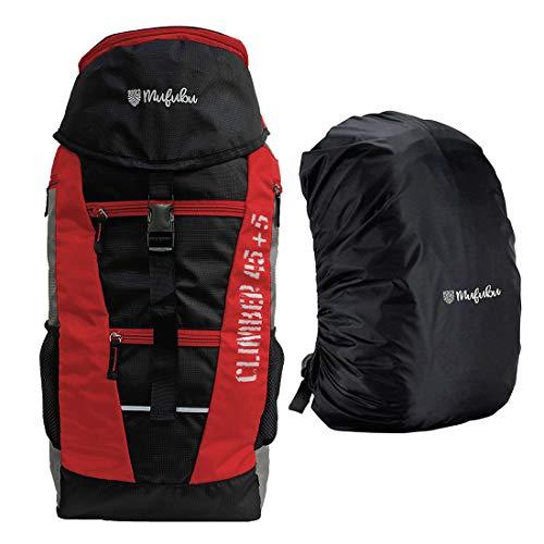 419eR1f+sWL - Mufubu Presents Climber 45 + 5 LTR Rucksack for Hiking, Trekking & Travelling with Rain Cover (Black & Red)