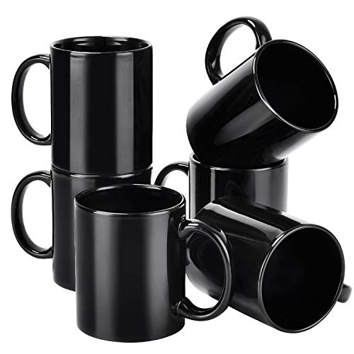 Porcelain Coffee Mug Set, Ceramic Mugs Perfect for Coffee, Tea, Cocoa, Oatmeal, 12 oz, Set of 6, Black