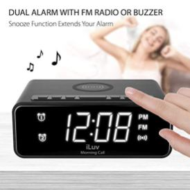 iLuv-Morning-Call-4Q-Wireless-Charging-Alarm-Clock-with-Qi-Certified-LED-White-Display-Dual-Alarm-FM-Radio-Sleep-Timer-3-Level-Dimmer-Wood-Design-Compatible-with-iPhone-Samsung-Galaxy-AirPod