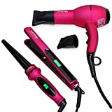 Parwin Beauty Complete Set - 1 Inch Ceramic Hair Straightener Flat Iron Set, 13-25mm Curling Wand Adjustable Temperature, Negative Ion Technology and 1875W Hair Dryer Set, Pink