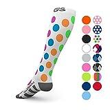 Go2Socks Compression Socks for Men Women Nurses Runners 20-30 mmHg (high) - Medical Stocking Maternity Travel - Best Performance Recovery Circulation Stamina - (Polkadot,M)