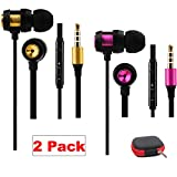 Earbuds with Microphone 2 Pack Ear Buds Headphones Bass Earphones with Mic and Volume Control Noise Isolating with Storage Case (2 Pack)