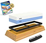 Product review for Whetstone Knife Sharpening Stone: 2-Sided Professional Grade Japanese Style Waterstone Blade Sharpener, 1000 / 6000 Grits, with Non-Slip Base, Angle Guide, and Easy Video Instructions & PDF User Guide