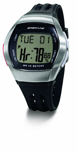 Sportline Men's Duo 1010 Dual Use Heart Rate Monitor - Silver with Black Strap
