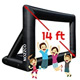 Outdoor Movie Screen - 14 FT Inflatable Projector Screen - Family Screen Tent + Printable Party Theme Movie Ticker Templates - Lightweight & Easy to Inflate - Family Pool Canvas Tent by Nozzco