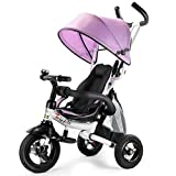 Costzon Baby Tricycle, 6-in-1 Steer Stroller, Learning Bike w/Detachable Guardrail, Adjustable Canopy, Safety Harness, Folding Pedal, Storage Bag, Brake, Shock Absorption Design, Pink