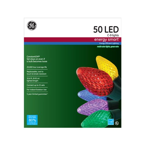 GE 97715 Energy Smart C9 Led Crystal Ice Light Set, Multicolor, 50-count, 1-Pack