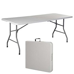 6′ Folding Table Portable Plastic Indoor Outdoor Picnic Party Dining Camp Tables (White) (1, White) (1, White) (6 Inches)