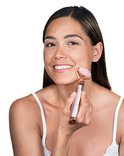 Finishing Touch Flawless Contour Vibrating Facial Roller & Massager, Rose Quartz 9