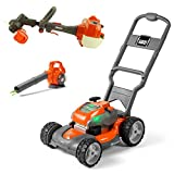 Husqvarna Battery-Powered Kids Toy Lawn Mower, Orange + Toy Leaf Blower + Toy Lawn Trimmer