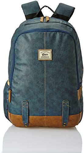 Gear Classic Anti Theft Faux Leather 14 cms Navy Laptop Backpack (LBPCLSLTH0519)
