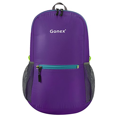 Gonex Ultra Lightweight Packable Backpack Hiking Daypack Handy Foldable Camping Outdoor Travel Cycling Backpacking(Purple)