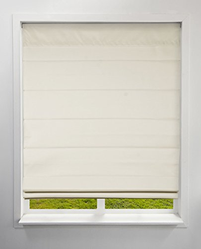 Arlo Blinds Thermal Room Darkening Fabric Roman Shades, Color: Ivory, Size: 22' W x 60' H, Cordless Lift Window Blinds